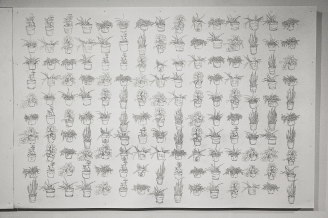 "At Home (Part 2), drawing on archival carton, 2014, 40""x60"""
